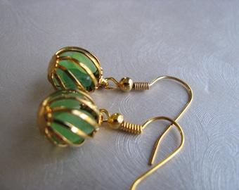Beach Glass Earrings - Kelly Green Ball Earrings - Beach Glass Jewelry