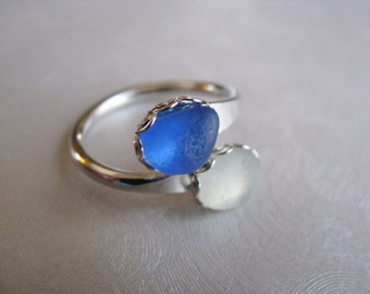 Cobalt Blue and Seafoam Ring - Sea Glass Ring - Beach Glass Ring - Unique Eco Ring