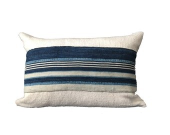 Vintage Striped African Mudcloth Lumbar Accent Pillow 14x20