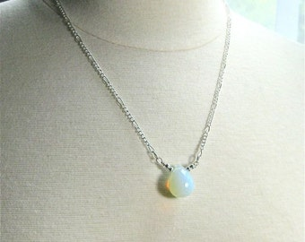 Opalite Pendant Necklace on Silver Chain. Glowing Iridescent Pendant Necklace