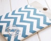 Monogrammed Kindle Case|Kindle Case with Initials|Kindle Paperwhite Cover|Kindle Cover|Nook Cover|Nook Sleeve in Teal Chevron and Linen