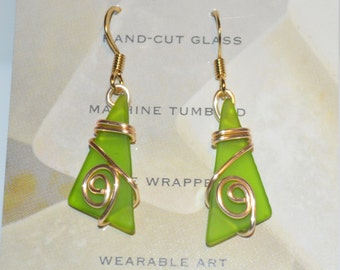 Beach inspired cut and tumbled glass wire wrapped earrings-bright green glass spring jewelry-maine made wearable art