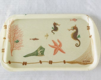 1950s Vintage Mid Century Under The Sea Serving Tray William A. Bostick