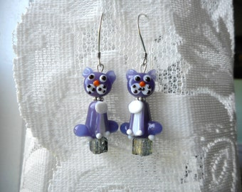 Purple Cat ... dangle earrings, purple, lamp work glass cats, grey crackle glass cubes ... #663