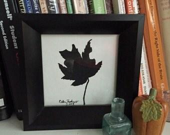 Gouache Autumn Leaf (#1) , Small Painting