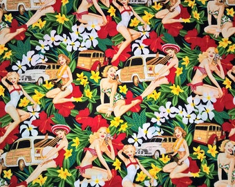 Fat Quarter - Pin Up Retro Mahalo Girls in Black by Alexander Henry 7754AR Black