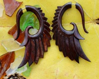 Fake gauge Earrings, Wood, Organic , Earrings, Tribal , Expander ,Split ,hand made,wing,fake piercing
