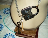 Antique lock key and bone steam punk necklace