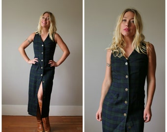 1980s Tartan Plaid Dress >>> Size Extra Small to Small