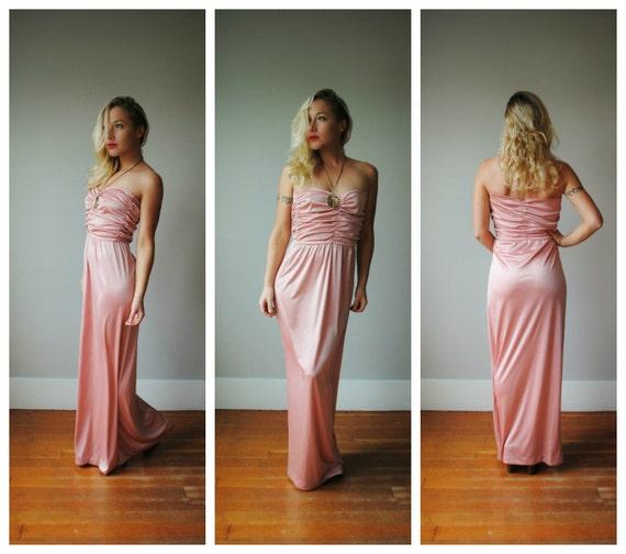 1970s Liquid Rose dress~Size Medium