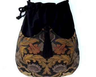 Jacquard Tapestry Bag Black Velvet Bag  Boho Bag  Black Bag With Tassel  Renaissance Bag