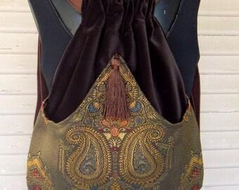 Brown Velvet Backpack Medallion Tapestry Renaissance Book Bag