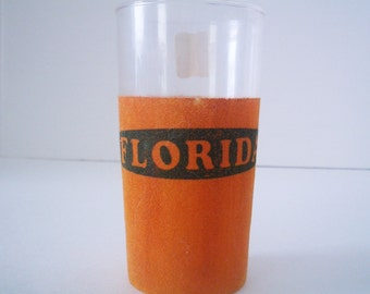 Vintage Florida Souvenir Glass/Tumbler with Orange Flocking