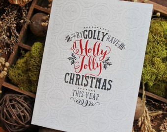 Holly Jolly Christmas Card Stationery Set | Holiday Card | Christmas Card | Greeting Cards | Personalized Christmas Cards | Reindeer