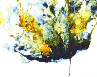Fine Art Painting, Flower Abstract, Navy Blue Yellow, Original Modern Floral Art