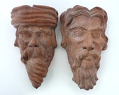 A Pair of Victorian Terracotta Wall Pockets, Modelled as Masks / Heads / Bearded Men - Planters - House or Garden Decor