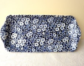 Burleigh Calico, Blue and White Floral, Sandwich Tray - Long Rectangular Dish - SECOND
