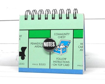 MONOPOLY Board Game Journal or Notebook with Custom Flair Button or Badge