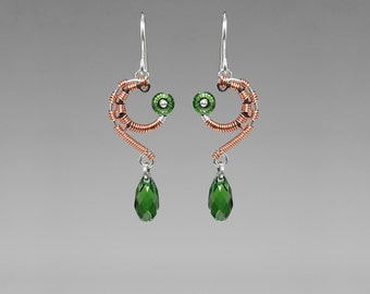 Green Swarovski Crystal Industrial Earrings with Copper Wire Wrapping, Industrial Earrings, Statement Jewelry, Messier 101 II v3