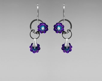 Heliotrope Swarovski Crystal Industrial Earrings, Statement Earrings, Swarovski Crystal Jewelry, Wire Wrapped, Cold Fusion II v11