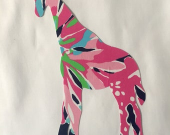 New Made To Order Giraffe Pillow made with Lilly Pulitzer Sippin and Trippin fabric
