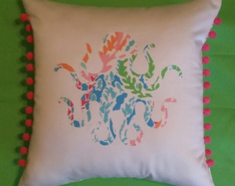 New Made To Order Octopus Pillow made with Your Choice of over 30 New AUTHENTIC Lilly Pulitzer fabrics
