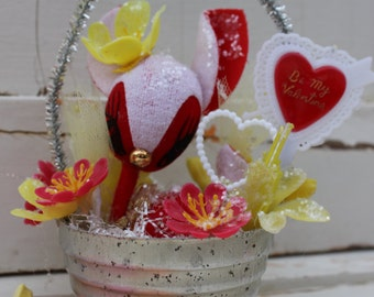 Vintage Style Valentine Ornament  - Tin Mold, Big Eye Felt Deer with Heart