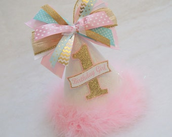 NEW Glitter White, Gold, Pink, and Mint Party Hat - Chevron, Polka Dot, Princess, Glam, Winter Wonderland, Frozen, Tinsel, Fairy