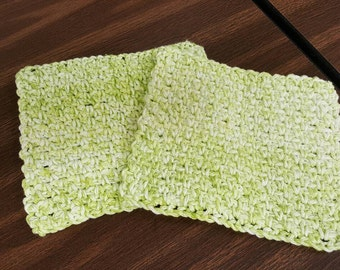 Handmade Crocheted Lime Green Washcloths/Bath/Shower