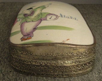 ASIAN PORCELAIN JEWELRY Box Fragment Silverplate White Blue Ceramic young boy design app 8x5x2 in