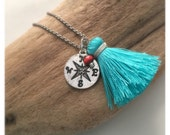 true north tiny tassel compass necklace