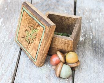 Mini Box -  Woodburned leaf with wooden acorns