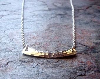 Sterling Silver Bar Necklace - Handmade Hammered Sterling Silver Pendant Suspended on Sterling Silver Chain