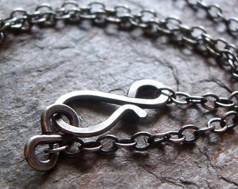 Sterling Silver Cable Chain with Sterling Silver Handmade Loop Clasp or Sterling Silver Lobster Claw Clasp