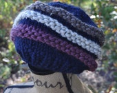 Chunky Warm Hat - Striped Winter Hat - Slouchy Knit Hat - Ladies Tam - Womens - Mens Hat - Navy Blue - Purple Plum - Cocoa Brown - Oatmeal