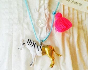 Zebra Necklace Tassel Necklace Be Unique Jewelry Zebra Charm Girls Plastic Animal Necklace Zoo Animal Necklace Kids Jewelry The Trendy Tot