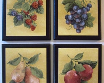 Fruit Wall Decor for country kitchen 4 plaques signs, strawberries grapes pears yellow pictures