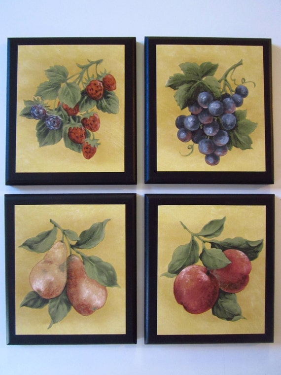 Fruit Wall Decor For Country Kitchen 4 Plaques Signs