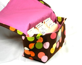 Mega Large Coupon Organizer Holder Heavy Duty Fabric Pink and Green Dot Pink Lining