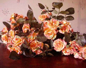 Mini Roses Silk Floral Stems Artificial Flowers Orange Peach Pink Yellow Leaves Floral Supplies Fake Rose Fall Autumn Halloween Table Decor