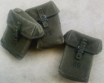 Vintage Army Ammunition Pouch 1 of Your Choice 1960 Military Gear Belt Attachment Bag Green Canvas Bullet Magaxine Holder