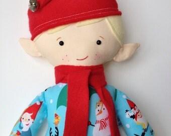 Christmas Elf Doll, Elf Doll, Plush Elf, Elf, Doll, Christmas Doll, Plush Doll, Rag Doll, Fabric Doll, Cloth Doll,  Boy Doll-Jingle