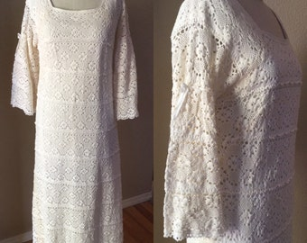 Cream Bohemian Wedding Dress, 60's vintage Cream Crochet bell sleeve Gown