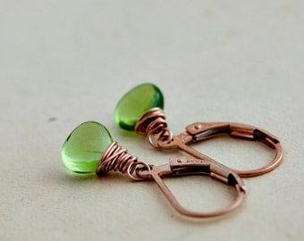 Peridot Earrings, August Birthstone, Peridot Jewelry, Lime Green, Rose Gold Jewelry, Rose Gold, Drop Earrings, Dangle Earrings, PoleStar