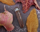 Crystal Necklace - Pink Lemurian Quartz Crystal - Lemurian Quartz with Hematite and Silver Chain - Earth Goddess Grounding Crystal Amulet