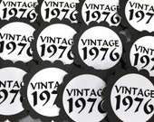 40th Birthday Cupcake Toppers - VINTAGE 1976, Black and White or Your Colors, Set of 12