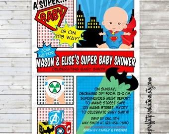 Geeky Super Baby shower invitation - digital file