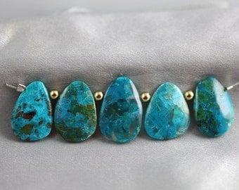 Chrysocolla Briolettes Set of 5