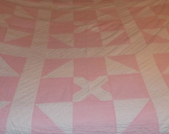 Vintage homemade hand stitched/quilted coverlet quilt bedspread pink & white