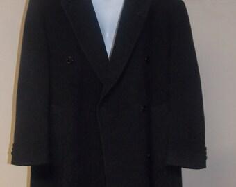 Macy's Men's Store long length overcoat wool cashmere men's coat black double breasted
